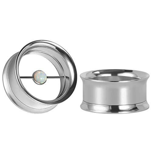 KUBOOZ Ear Plug Tunnel Gauge Stretcher Piercing Silver Opal Center Stainless Steel Screw 5/8