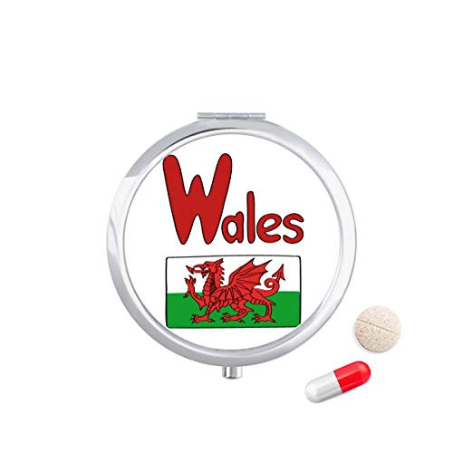 DIYthinker Wales Nationale Vlag Rood Groen Patroon Reizen Pocket Pill Case Medicine Drug Opbergdoos Dispenser Spiegel Gift