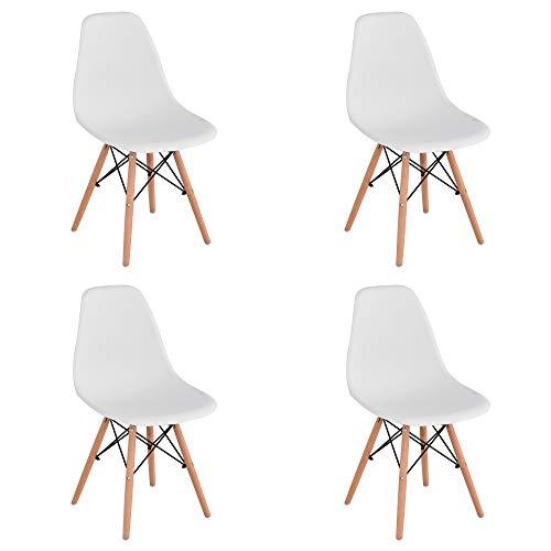 Pack de 4 Mid Century Modern Chair- Silla Moldeada con Patas de Madera de Dowel - para Comedor, Cocina, Dormitorio, Salón - Fácil de Montar y Limpiar - Blanco