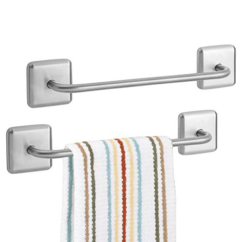 mDesign Decorative Metal Large Towel Bar - Strong Self Adhesive - Storage and Display Rack for Hand, Dish, and Tea Towels - Stick to Wall, Cabinet, Door, Mirror in Kitchen, Bathroom - 2 Pack - Brushed