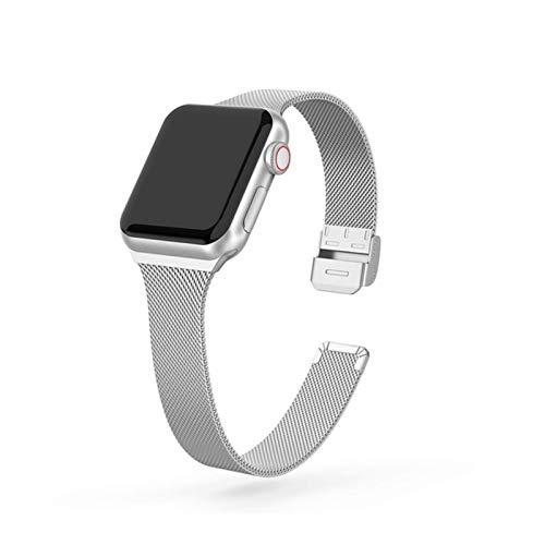 Correa de reloj para Apple Watch SE 6/5/4 40MM 44MM Correa de bucle de pulsera de metal para iWatch Series 3/2/1 38MM 40MM Correa de reloj de pulsera-Plata, para 38MM y 40MM