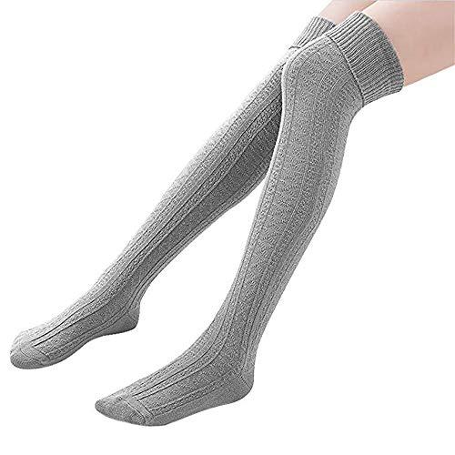 Homingg Knee High Socks 1 Paar Halten Overknee Strümpfe Stricken Sport Socken … (Light Grey)