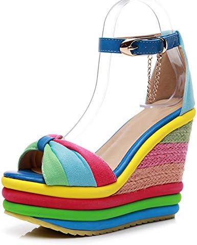 Women's Platform Wedge Espadrilles Sandal Ankle Strap Colorful Heel