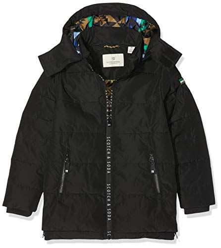 Scotch & Soda Jungen Jacket with Printed Zippers and Detachable Hood Jacke, Schwarz (Black 008), 116 (Herstellergröße: 6)