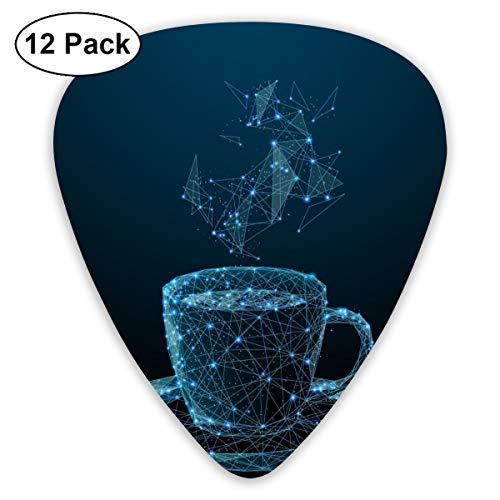 Slaytio Klassische Gitarre Auswahl für E-Gitarre, Akustikgitarre, Mandoline und Bass, Sternenhimmel über Kaffeetassen (3 Arten von Dicke, 12 Stück)