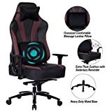 Blue Whale Super Big and Tall Gaming Chair with Massage Lumbar Support,Sedentary Reminder,Metal Base and Aluminum Alloy Armrest High Back PC Racing Office Computer Desk Ergonomic Swivel Task Chair