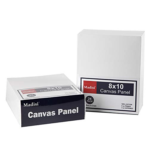Madisi Painting Canvas Panels 48 Pack, 8X10, Classroom Value Pack Art Canvas