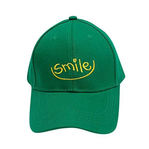 WUDUBE Sombrero protección Solar, 2019 Primavera y Verano Sonrisa Hombre y Mujer Gorra de béisbol Love Bordado Casual Curved Cap Verde Verde Talla única