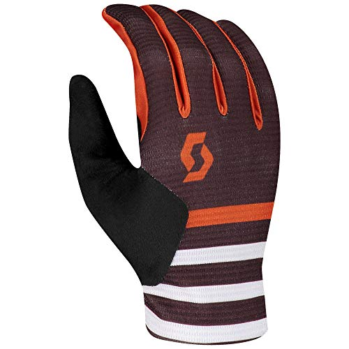 JTOES Scott Ridance LF Glove for Motorcross Mountain Bike Cycling, Full Finger Pair of Gloves, Best MTB Lightweight All Purpose Trail Glove (Maroon Red/Orange Pumpkin, XLarge)