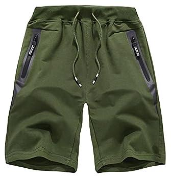 EXEKE Men s Lounge Shorts Cotton Jersey Shorts Workout Shorts with Zipper Pockets 818/Olive-4/34-36