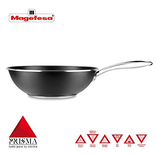 Wok MAGEFESA Prisma. Wok Fabricado en Acero Inoxidable 18/10, Antiadherente Triple Capa, Apta para Todo Tipo de Cocina, INDUCCIÓN. Fácil Limpieza. Apto para lavavajillas y Horno. (Wok, 28_cm)