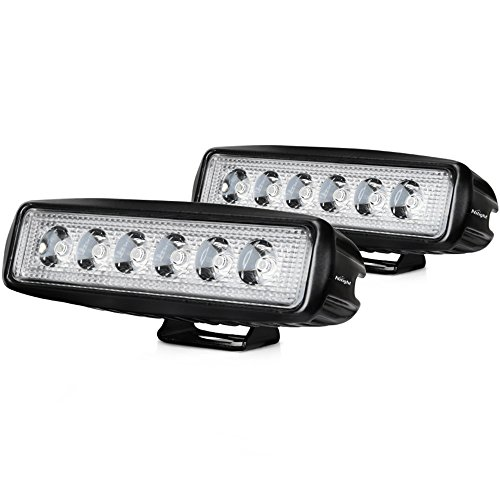 Nilight LED Light Bar 2PCS 18W 6Inch Flood LED Pods Offroad Led Work Light Driving Light Fog Light Boat Light Waterproof for SUV ATV 4WD Car Truck Golf Cart 12V 24V,2 Years Warranty