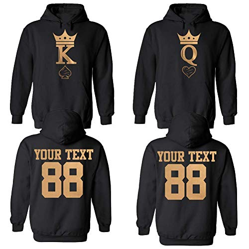 King & Queen Custom Couple Hoodie Customized Names and Numbers for him and her Personalized Matching Couples