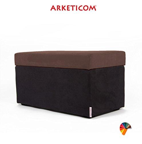 NEUF!!! Arketicom PANDORA Pouf de Rangement Cube CONTAINER Puff Repose-pieds Rembourré Banc Design Tissu Moderne MICROFIBRE Fabriqué à la Main en Italie, Structure bois Massif, Assis PU Coffre Box (Marron, 84 x 42 x 42h)