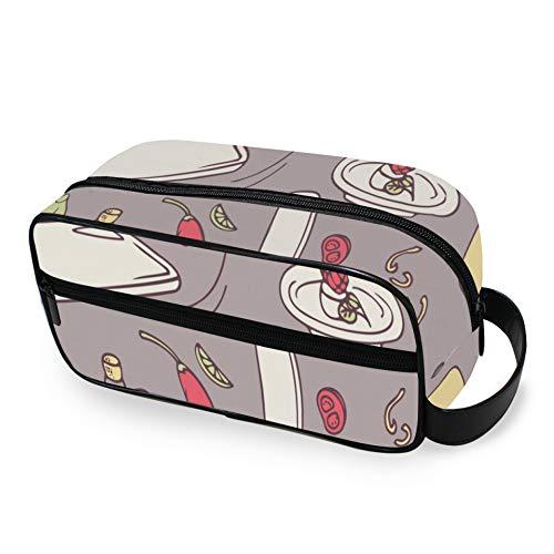 Kreative Mode Cartoo Küche Wok Reise Toilettenartikel mit Reißverschlüssen Reisetasche für Toilettenartikel Handgepäck Reiseaccessoires Leder Kulturbeutel für Männer und Frauen Reisetas