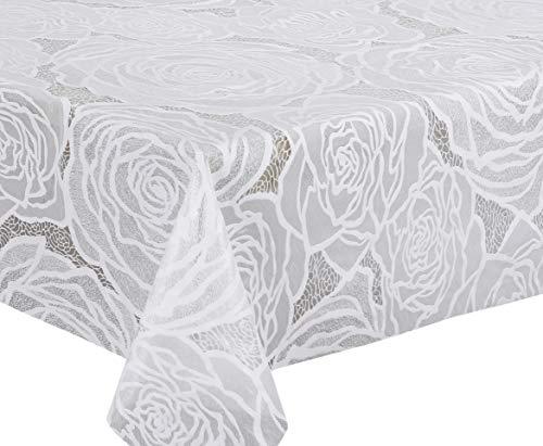 Transparente Folien Vinyl Tischdecke Folie in Spitze-Optik, abwischbar, weiß halbdurchsichtig, Größe wählbar (220x136 cm)
