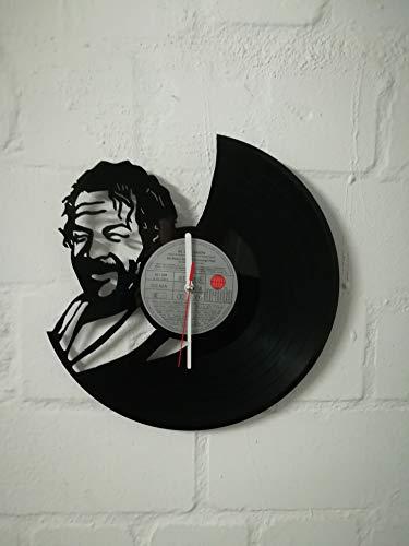 Wanduhr aus Vinyl Schallplattenuhr mit Bud Spencer Motiv upcycling design Uhr Wand-deko vintage-Uhr Wand-Dekoration retro-Uhr