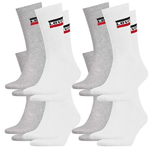 Levis® Herren Sportsocken Regular Cut 160SF Sportswear Logo 8er Pack 35-38 39-42 43-46, Größe:43/46, Farbe:Mid Grey/Black (208)