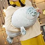 Cute Blob Seal Pillow, Chubby Seal Plush Hug Pillow Soft Stuffed Animal Toy (White, 24