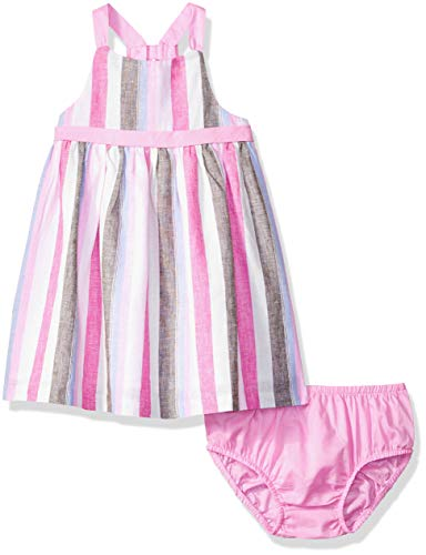 Gymboree Baby Girls Sleeveless Casual Woven Dress, Grey/Pink Stripe, 12-18 mo