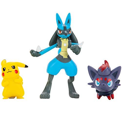 NEW Pokemon Battle Figure Set- Pikachu, Zorua, Lucario Figures