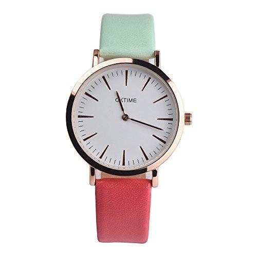 Rosennie Damen Armbanduhr Quarz Analog Armband Art- und Weisefrauen Retro Design Wasserdicht Lederarmband Classic Quarz Uhr mit Leder Armband Business Kleid Uhr Dünn Armbanduhr