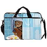 Bolsa para portátil de 15 pulgadas, diseño de gato de baño detrás de la cortina para computadora portátil de negocios bolsa de hombro para tableta de transporte para mujeres y hombres