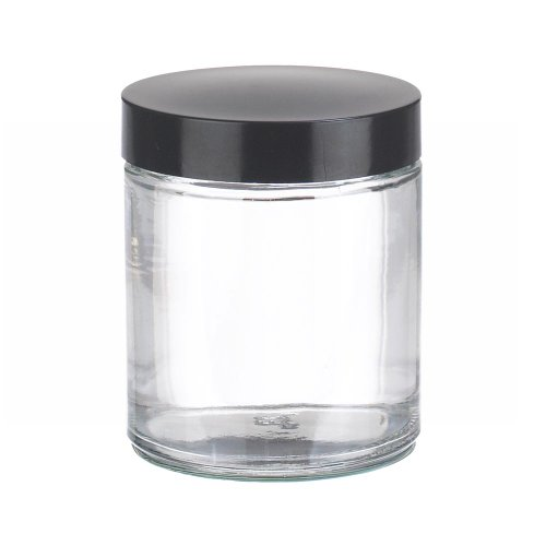 Wheaton W216913 Clear Glass 4oz Straight Sided Jar, with 58-400 Black Phenolic Rubber Lined Screw Cap (Case of 24)