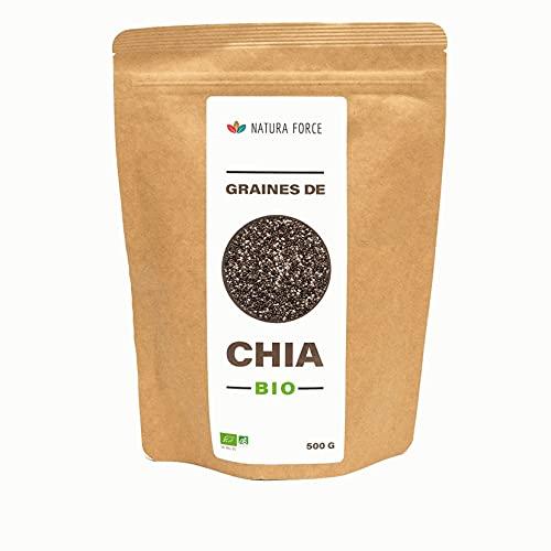 NATURA FORCE - Graines de chia 100% BIO - Transit - Alimentaire - Faible en Sucres et Matières Grasses - Riche en Fibres - Omega 3 - Hydratant - Calcium - Perte Poids - Sommeil