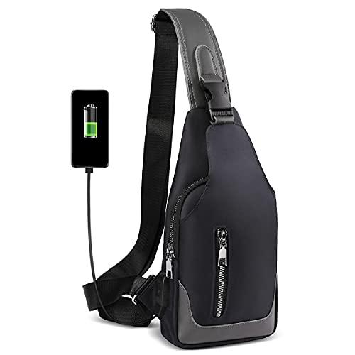 HEROIC KNIGHT Zaino Monospalla Uomo,borsa tracolla uomo Impermeabile con Ricarica USB,Borsa a Spalla per Viaggio, Ciclismo,Lavoro,Sport,Bicicletta