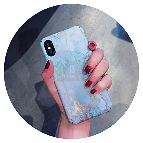 Carcasa de mármol para iPhone X 6 6S 7 7Plus ultra delgada mate rígida carcasa para iPhone 8 8Plus Fundas, azul, para iPhone 6 6S