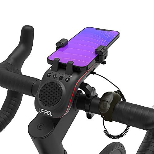 UPCARE Altavoz Bluetooth Bicicleta Multifunción 10 en 1 - Soporte Movil Bicicleta – Luz LED – Cargador Portátil – Timbre – Micrófono – Modos TF/SD/AUX – para Bicis de Carretera y Montaña