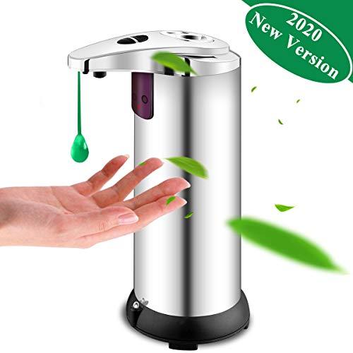 Seifenspender Automatisch, Seifenspender Edelstahl Sensor Infrarot Seifenspender Berührungslos Flüssigseifenspender mit Wasserdichter Basis für Küchen und Badezimmer Champagnersfarbe (Silber)