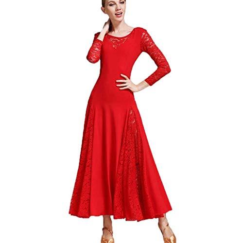 CX Vrouwen lange mouwen Modern balzaal tricot tango jurk, elegant groot rok swingle praktijkkostuum wedstrijdkostuum