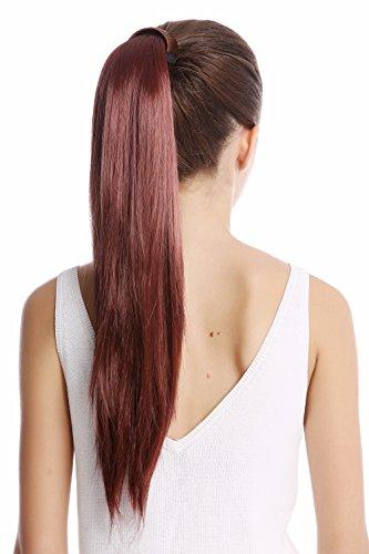 WIG ME UP ® - Srosy-35 Extension natte queue de cheval nouveau système peigne et serre-tête élastique brun rouge lisse 55 cm