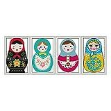 Tubayia 4 Piezas de Punto de Cruz pre-Impresos Set muñecas Rusas Stickbilder Stickpackung para niños, Adultos