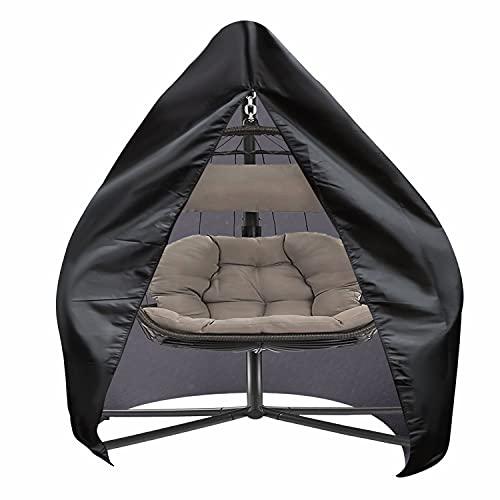 SIRUITON Housse de Chaise Suspendue Housse de Chaise de Jardin Oeuf Imperméable Robuste Tissu Oxford 420D Noir (120x139x205/125cm)