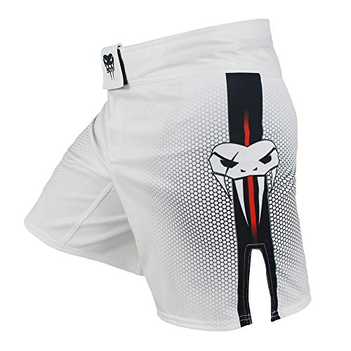 SOTF MMA Boxing Fight Shorts Mens Stretch Sports Training Shorts White M