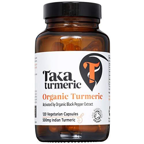 Taka Turmeric, Organic Turmeric Capsules with Organic Black Pepper Extract (95% Piperine), (120 Capsules)