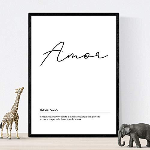 Lámina Palabra Amor Lámina nordicas blanco y negro. Poster 250 gr y tintas alta calidad Tamaño A4 Sin marco