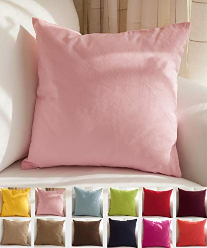 TangDepot Cotton Solid Throw Pillow Covers, 18' x 18' , Salmon pink