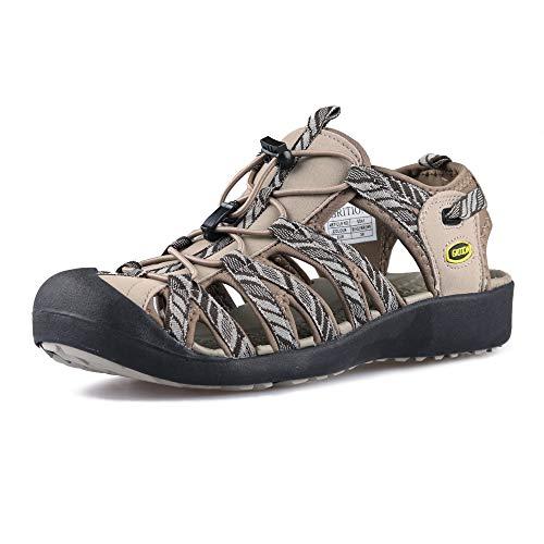 GRITION Frauen Athletisch Wandern Sandalen Geschlossene Zehe Wasser Schuhe Abenteuerlichen Outdoor Sport Trail Sommer MEHRWEG (38 EU, Beige)