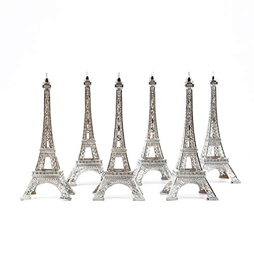 Miniature Metal Eiffel Towers 7 Inch (18cm) Silver Pack of 6