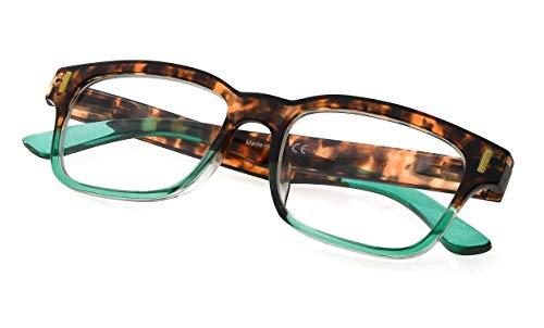 Womens Stylish Spring Hinge Reading Glasses Clear Lens Eyewear for Reading Green Frame +0.75