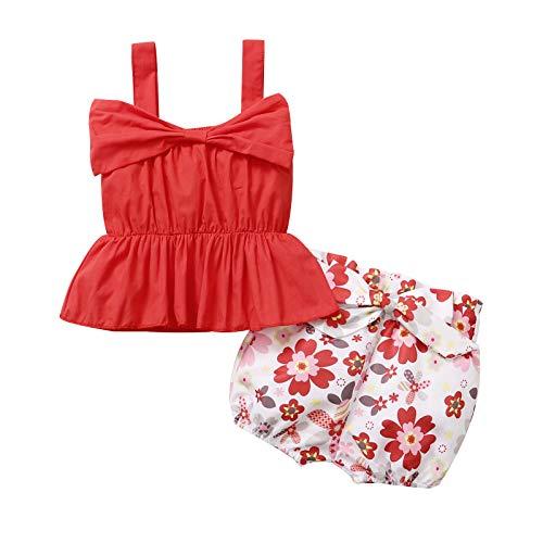 Gajaous Conjunto de ropa de verano 0 – 4J con volantes y pantalones cortos de flores rojo 12-18 Meses