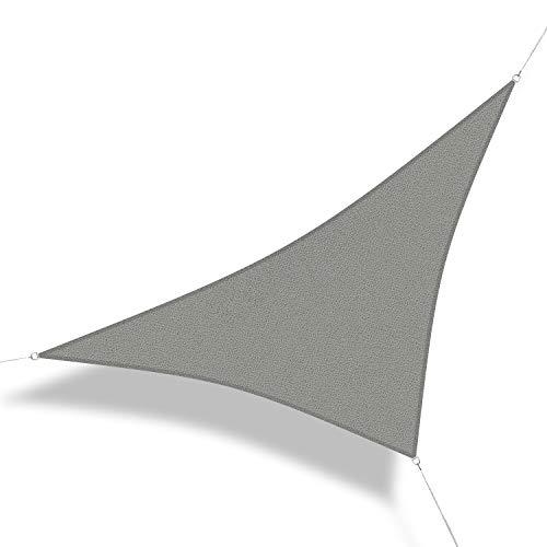 Corasol 160087 Premium Sonnensegel, 5 x 5 x 7 m, 90° Grad Dreieck, Wind- & wasserdurchlässig, Silber-grau