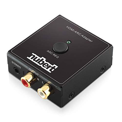 Nubert HDMI ARC Cinch Adapter | extrahiert das HDMI ARC Signal des TV | analoger Ausgang | Stromversorgung via beiliegendem USB Kabel | Original Nubert Zubehör | Schwarz | 1 Stück