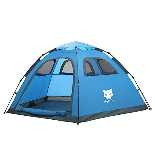 Night Cat Camping Tent 1 2 3 4 Persons Easy Instant Pop Up Family Tent Automatic Hydraulic Fast Setup 5 Windows Single Layer