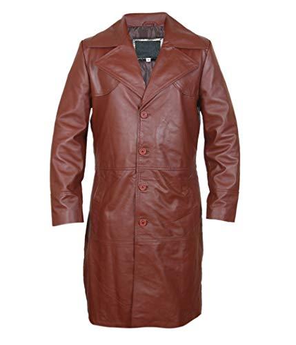 Men, Women Waxed Brown Leather Long Coat (Sheepskin. Faux Leather)
