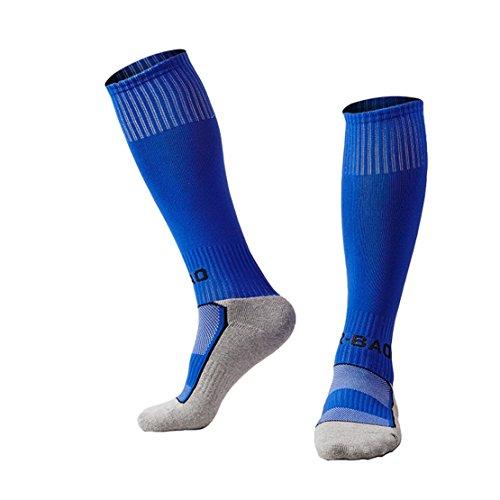 Welltree Boys & Girls Knee High Cotton Soccer Socks/Kids Football Sport Long Socks (Kid/Youth)/1 Pack Blue